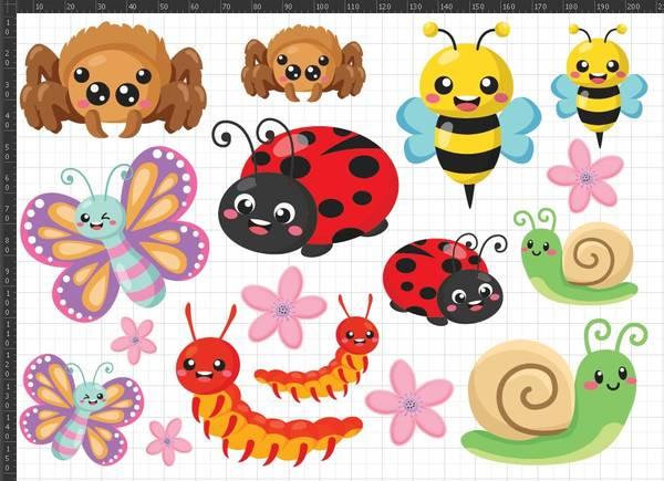 A5 Tøymerker Cute Bugs